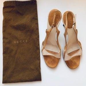 Gucci tan camel cream heels